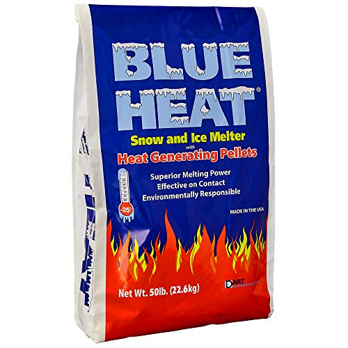 Blue Heat Snow and Ice Melter Rock Salt - 50lbs Bag - Heat Generating Pellets - Concrete and Surface Safe - Industrial Grade - Home and Commercial Use - Blue ()