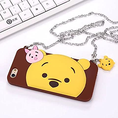 iPhone SE Case iPhone 5/5S Covers With Wearable Crossbody Chain and Charm Dangle Cute Lovely Gift For Kids Teen Girls (Brown Winnie (Rubber Iphone 5s Cases Disney)