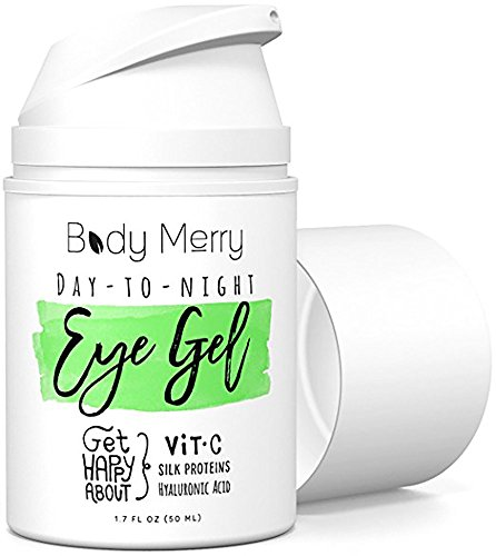 Body Merry Day-to-Night Eye Gel: Anti aging treatment with natural Hyaluronic Acid + Vitamin C to lift and combat dark circles, puffy eyes, & fine lines for men/women - can be used w cream or makeup