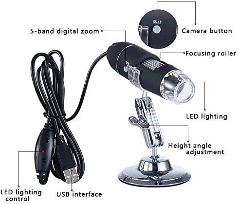 Beher USB Microscope Camera 50X to 1600X Digital Microscope USB 8 LED Light Magnification Magnifier Endoscope with Stand