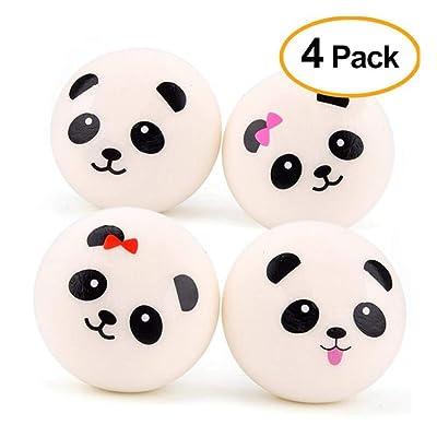 GYKFY Cute Panda Egg Stress Ball - Paquete de 4 Bolas Blandas sensitivas y Suaves para niños y Adultos Diámetro 10 cm: Hogar