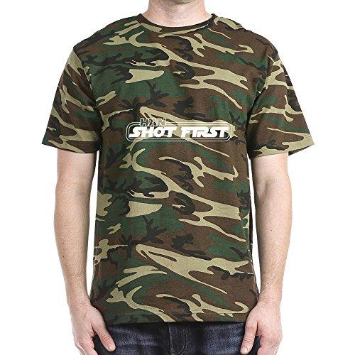 CafePress Han Shot First Dark T-Shirt - L Green Camo