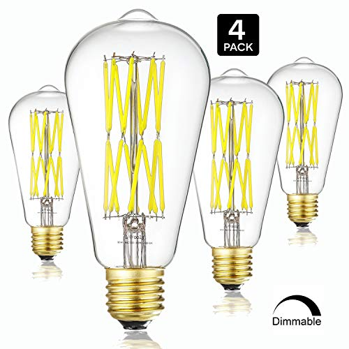 Leools LED Edison Bulb 15W,Dimmable 5000K Daylight White 1300LM, E26 Medium Base Lamp, ST64 Antique Style Shape, 120W Incandescent Replacement Filament Bulb, 4-Pack. ()