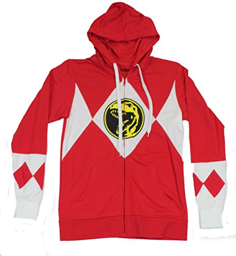 Mighty Morphin Power Rangers MMPR Mens Zip Up Hoodie Sweatshirt -Classic Red Power Ranger Outfit on Red (Power Rangers Outfit)