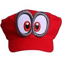 Súper Mario Beanie ODYSSEY ROJO con ojos para para adultos y niñoss y niños Disfraz de Carnaval Disfraz Gorros Gorro Gorra para mujer para hombre