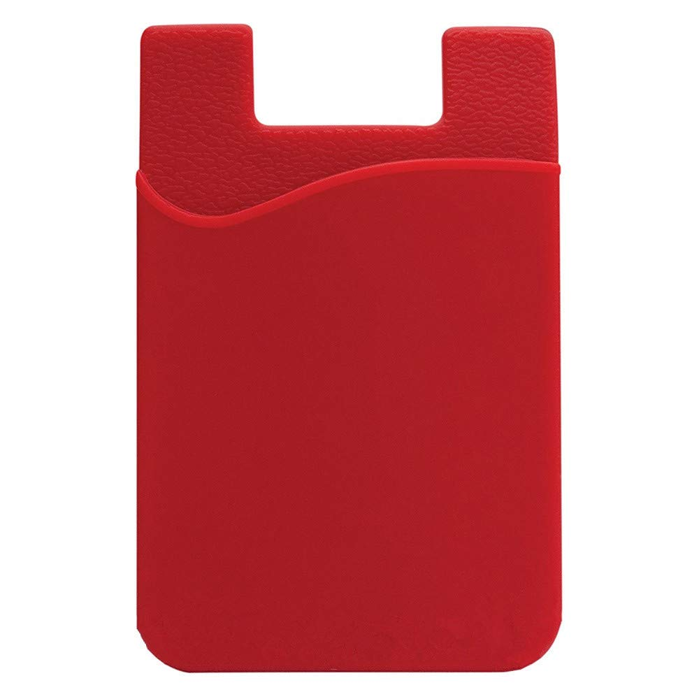 Ikevan 1 x Sticker Card Pouch Adhesive Silicone Credit Card Pocket Money Pouch Holder Case For Cell Phone (Red)