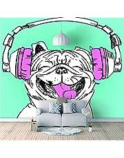 Muurstickers, Cartoon Dierlijke Hond Huishoudelijke Home Muursticker Poster Muurschildering Decoratie voor Slaapkamer Woonkamer Badkamer Keuken Raamglas Breed 120 X Hoog 100 cm