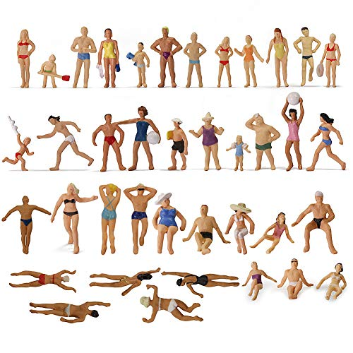 Evemodel P8720 40pcs Model Trains Swimming Figures 1:87 Scale HO Scale People Scenery Layout Landscape Miniature