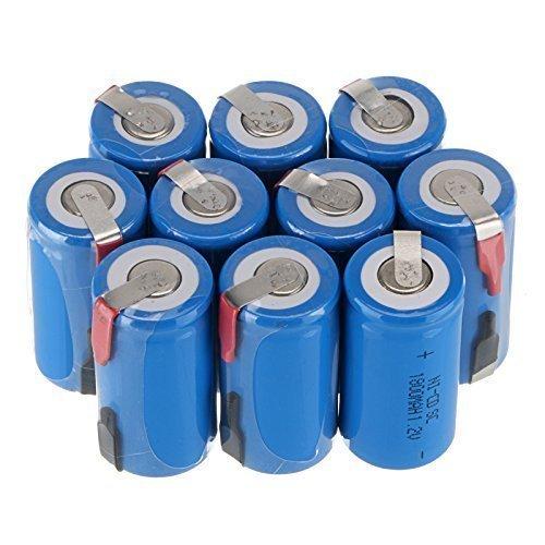 - Generic New 12 PCS Ni-Cd Sub C 1.2V 1800mAh Rechargeable Battery with Tab (12pcs Blue)