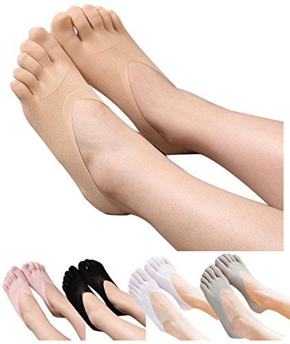 HONOW Women's No Show Toe Socks Invisible Liner Summer Casual (Pack of 5)