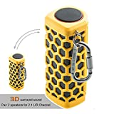 Hapyia Portable Wireless Bluetooth Speaker, Pair 2 speakers for 3D Stereo Surround Sound [New Release] - One Speaker (Yellow)