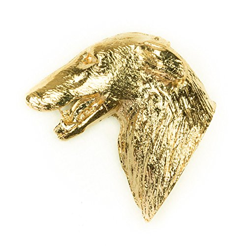 BORZOI Made in U.K Artistic Style Dog Clutch Lapel Pin Collection 22ct Gold Plated
