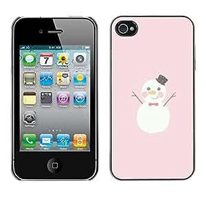 rígido protector delgado Shell Prima Delgada Casa Carcasa Funda Case Bandera Cover Armor para Apple Iphone 4 / 4S /Cartoon Pink Christmas/ STRONG