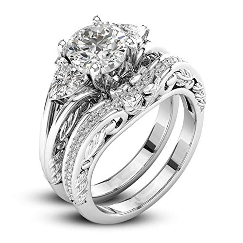 (DesirePath Womens Wide Bands Jewelry Diamond Anniversary Promise Engagement Ring Silver)