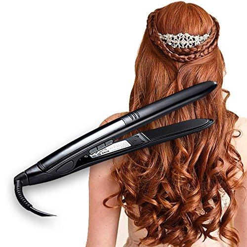 Topstone® Professional Digital Hair Straightener Ceramic Curling Iron with a Bonus Travel Pouch (Black)