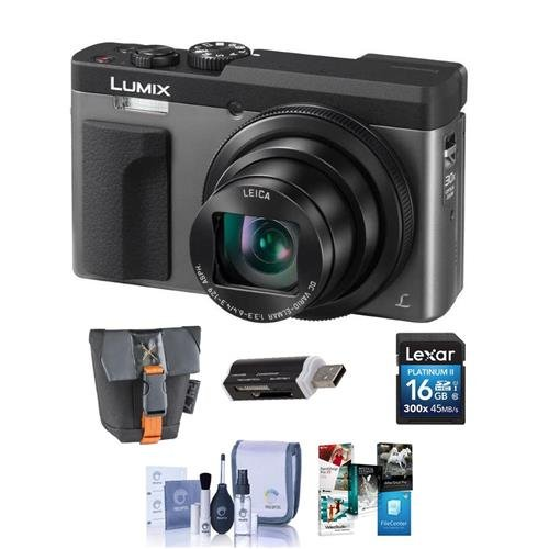 (Panasonic Lumix DC-ZS70 Digital Point & Shoot Camera, Silver - Bundle Camera Case, 16GB SDHC Card, Cleaning Kit, Card Reader, Pc Software Package)