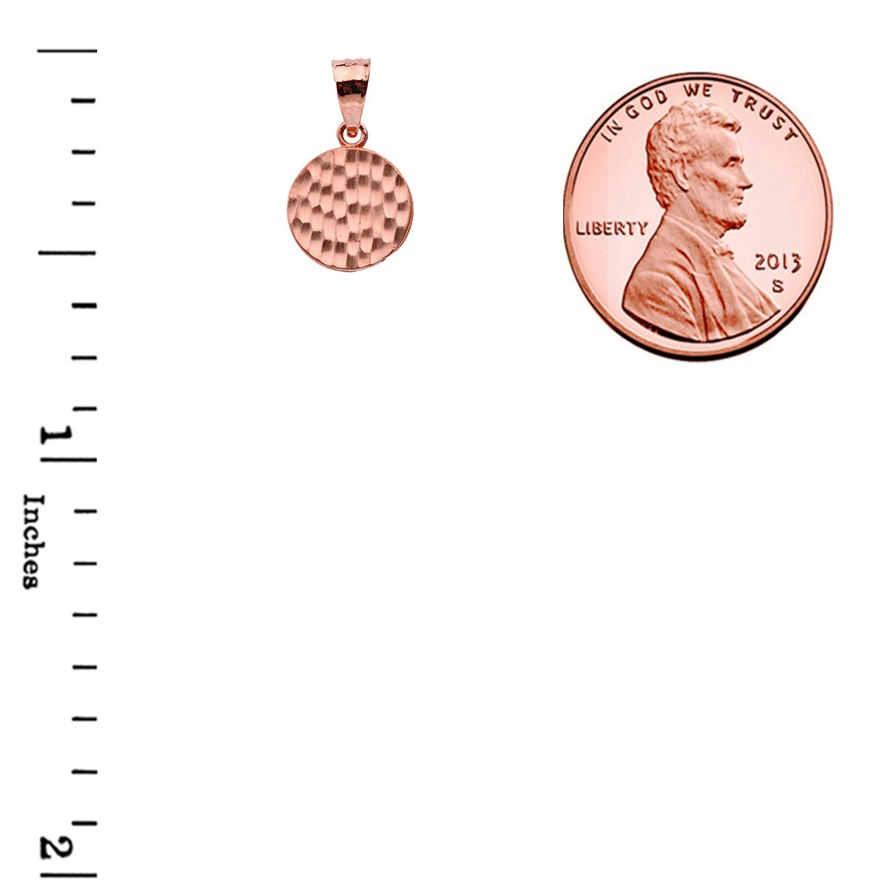 Fine 14k Rose Gold Love Hammered Round Charm Pendant Necklace and Earring Set, 18'' by Claddagh Gold (Image #4)