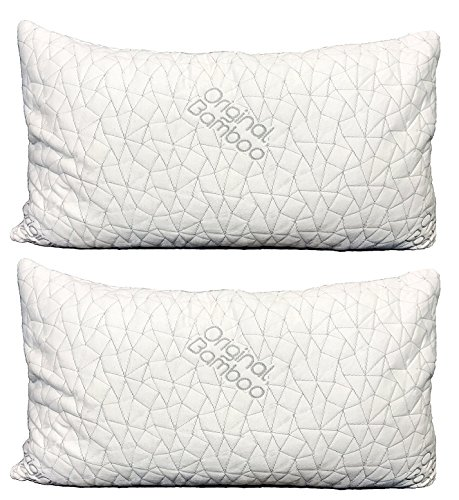Original Bamboo Pillow DIAMOND SERIES Set of 2 { Standard/Queen } Cooling Shredded Memory Foam | Adjustable Loft - Back Side or Stomach Sleeper | Washable Hypoallergenic Cool Sleeping Bed Pillows Bamboo Bedroom Bed