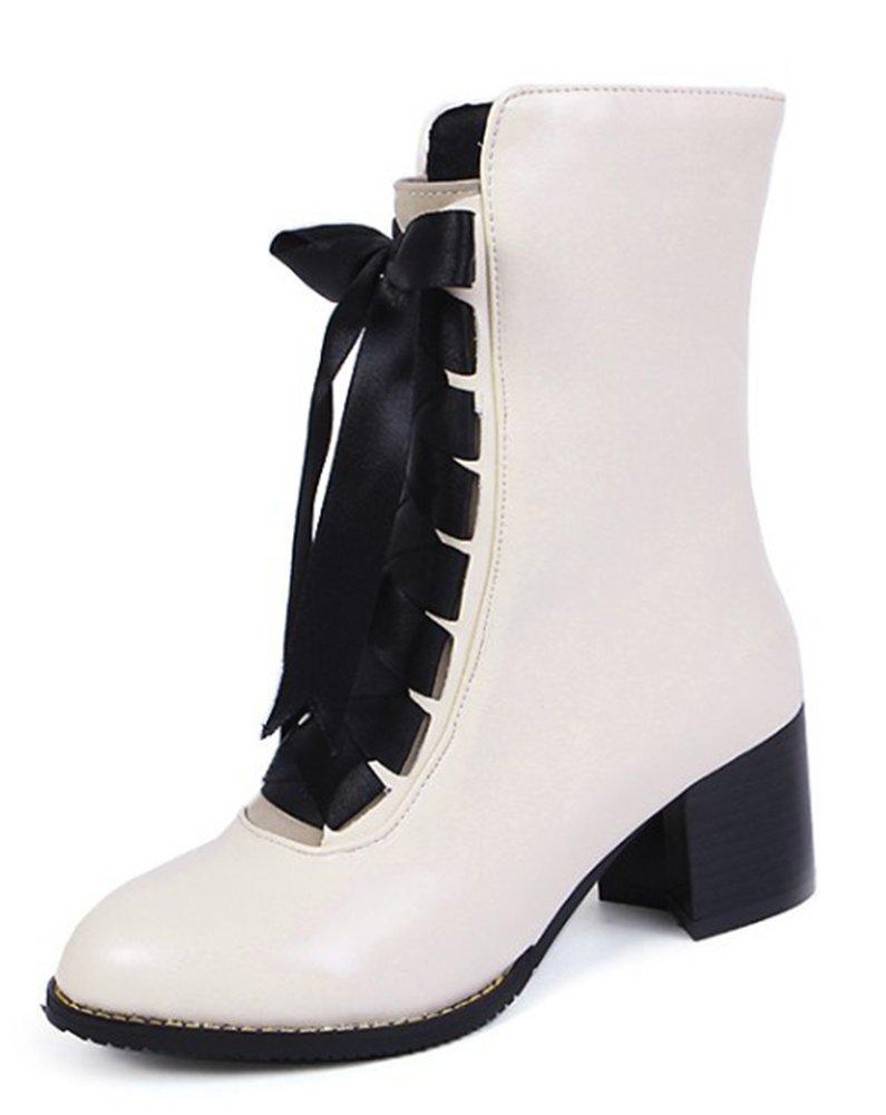 Easemax Femme Classique Chaussure 19998 Montante Montante Talon Bloc Bloc Bottines Beige 22e03fb - piero.space