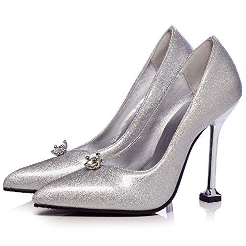 DecoStain Damen Durchgängies Plateau Sandalen mit Keilabsatz Silber
