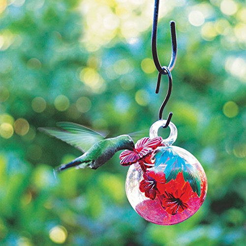 PARASOL Droplet Glass Hummingbird Feeder - Hand Blown Floral Painted Eco-Friendly Nectar Holder with Metal Hanger -