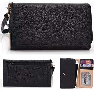 EXXIST® Classic Metro Series. Patent Leather Wallet / Clutch for Huawei Ascend G6-L33 4G LTE-A (Color: Black / Black) -ESMLMTKK