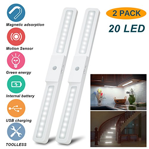Under Cabinet Lighting, 2 Pack Under Counter Lights Wireless Motion Sensor Stick-on Light Portable 20 LED Rechargeable Closet Light Kitchen Lighting Tap Night Light for Stairs Wardrobe (2Pack)