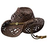 Sonoma - Deadwood Trading | Raffia Straw Cowboy Hats for Men & Women | Hit The Beach in Cowgirl Style | Cute Summer Hat w/Shapeable Brim, Metal Concho & Adjustable Chin Strap (Small - Chocolate)