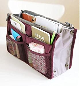 ArRord Handbag Pouch Bag in Bag Organiser Insert Organizer Tidy Travel Cosmetic Pocket Wine Red