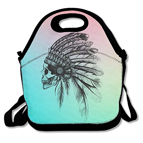 Skull Head Dress Chief Lunch Bag Lunch Tote ()