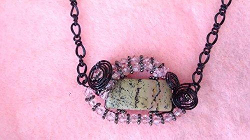Ivory Jasper pendant, rose quartz earrings