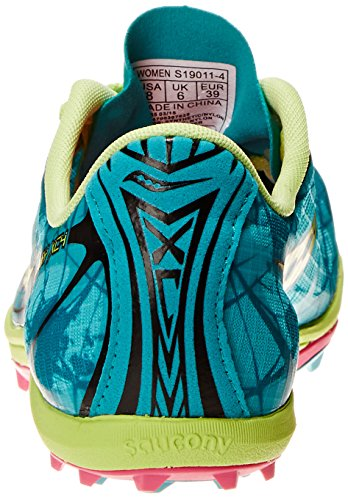 Saucony Shay XC4camiseta de Flat Racing zapatos Green/Citron/Pink