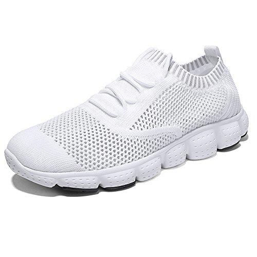 Qansi Hombres Sneakers Knit Zapatillas De Deporte Ligeras Y Transpirables Para Caminar Blanco