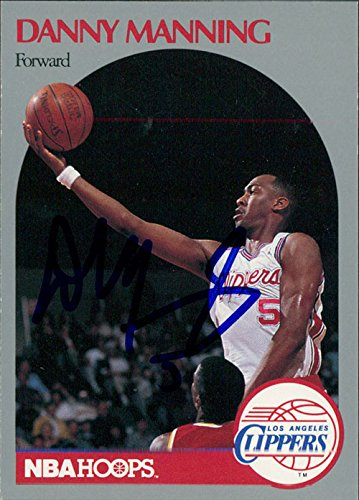 Danny Manning Signed (Signed Manning, Danny (Los Angeles Clippers) 1990 NBA Hoops Basketball Card)