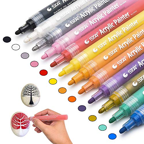 Chasehill Paint Pens for Rocks, Wood, Metal, Plastic, Ceramic, Canvas, Fabric, Gift Card, Poster, Water-Based 2mm Point Acrylic Marker Pen, Set of 12 ()