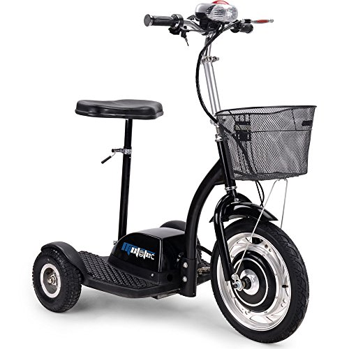 (SAY YEAH Electric Bike 36V 350W Brushless Hub Motor Scooter,3 Wheel Sit/Stand Tricycle, Adult Mobility Scooters,Drum Brake System,LED Light and Blasket,Man and Womann Scooters)