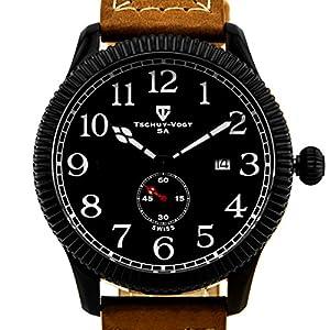 Tschuy-Vogt A24 Cavalier Mens Watch - Tan Leather Strap, IP Black Case and Bezel, Matte Black Dial