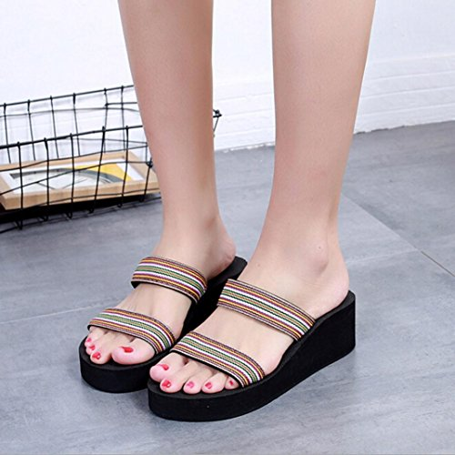 Suela 2018 Zapatos Mujer Para Elástico Marrón Paolian Con Plataforma Patrón Chanclas Paño Playa Blanda Toe Verano Leopardo Y Open Flip De Sandalias flops Antideslizante Cuña nYxww40H
