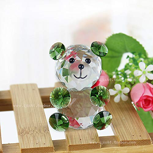 (Haomao Glass Crystal Animal Teddy Bear Figurine Miniature Christmas Celebrity Minifigures Kids Office Ornaments Toy Gift (red) (Color : Green))
