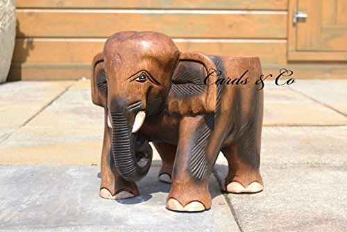 Hermosa mano tallada de madera de acacia elefante Peque/ño Tabla-heces-Tiesto soporte