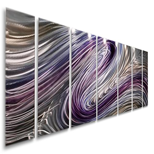 Hand Painted Metal Art (Purple Large Metal Wall Art, Contemporary Wall Painting, Abstract Hand-Painted Metallic Wall Sculpture - Metal Wall Decor by Jon Allen Metal Art - Wild Imagination - 68