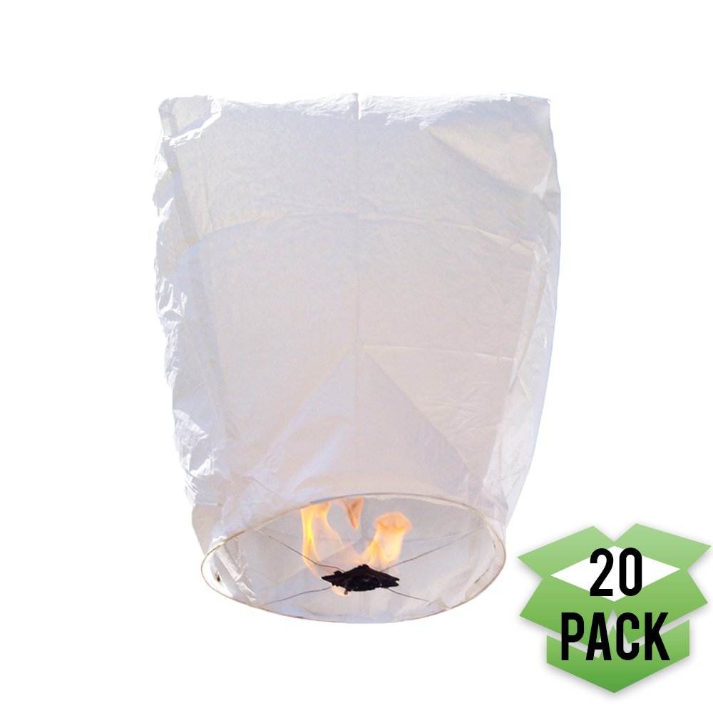 Just Artifacts 20 Eclipse White Chinese Flying Sky (Floating) Lanterns - (Eclipse, Set of 20, White) by Just Artifacts