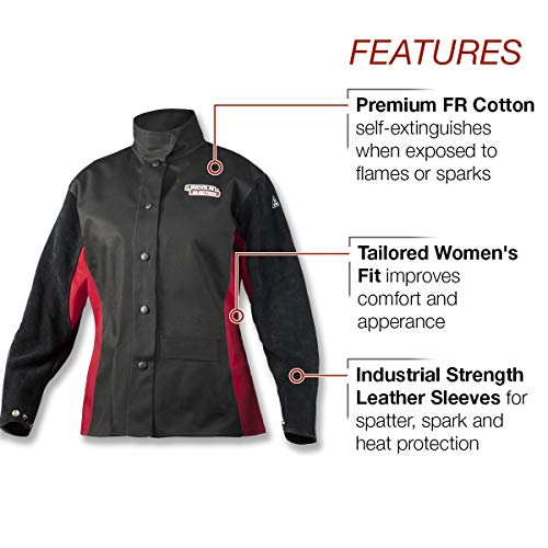 Lincoln Electric Women's Leather Sleeved Welding Jacket |  Premium Flame Resistant (FR) Cotton Body | Women's Small | K3114-S by Lincoln Electric (Image #1)