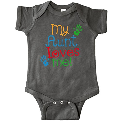 inktastic My Aunt Loves Me Outfit Infant Creeper 6 Months Charcoal Grey
