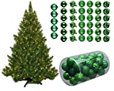 Pre-Lit 4.5Ft 250 Clear Lights Artificial Christmas Tree with 41piece Green Glitter Ornaments