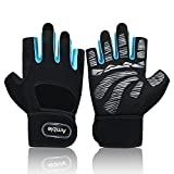 Amble Workout Gloves with Wrist Support Protection - Ventilated Gym Gloves with Full Palm Pad and Strong Grip for Lifting, Pull up and Other Workout - for Men and Women