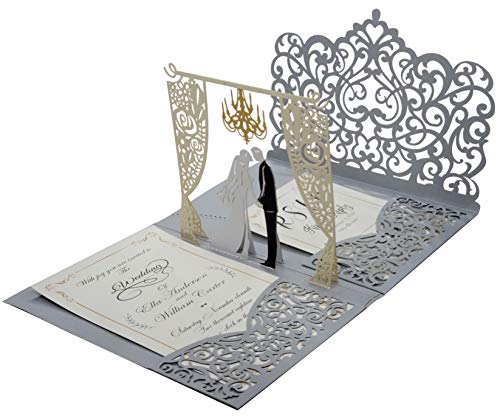 Pack of 25 Pop up 3D Wedding Invitations with Silver Laser Cut Pocket-Folds. Laser Cut Wedding Invitations Envelopes. Blank Invite and RSVP Card Stocks Included