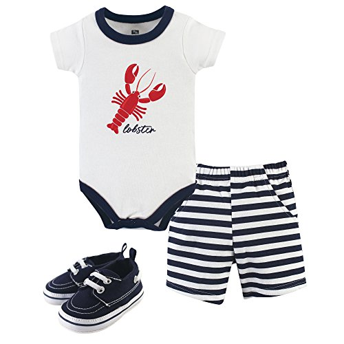 Hudson Baby 3 Piece Bodysuit, Short, Shoe Set, Lobster, 0-3 -