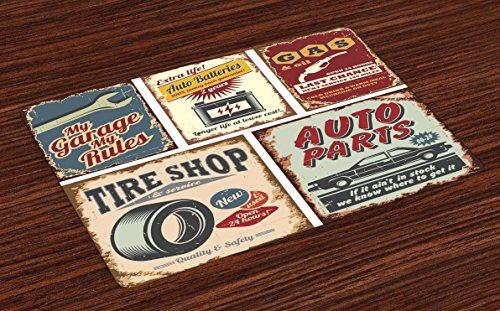 Lunarable 1950s Place Mats Set of 4, Vintage Car Signs Automobile Advertising Repair Vehicle Garage Classics Servicing, Washable Fabric Placemats for Dining Table, Standard Size, Burgundy