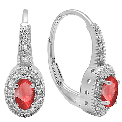 Dazzlingrock Collection 14K 6X4 MM Each Oval Ruby & Round Diamond Ladies Halo Style Hoop Earrings, White Gold